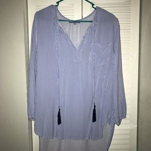 Blue and White Stripped Blouse XL